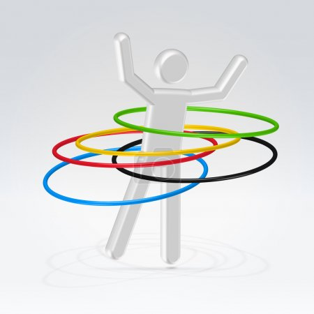 Abstract man rotating hoops