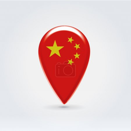 Glossy colorful China map application point label ...