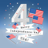 4 July festive composition postcard with letter 4 USA state flag and paper ribbons with greetings and flying confetti