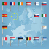 Glossy beautiful pin flags of Austria Belgium Cyprus Estonia Finland France Germany Greece Ireland Italy Luxembourg Malta the Netherlands Portugal Slovakia Slovenia and Spain hanging in round over light blue world map silhouette