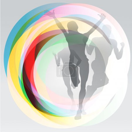 Illustration for Three translucent runners silhouettes over rainbow rings background - Royalty Free Image