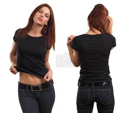 Photo for Young beautiful brunette female with blank black shirt, front and back. Ready for your design or artwork. - Royalty Free Image