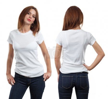 Photo for Young beautiful brunette female with blank white shirt, front and back. Ready for your design or artwork. - Royalty Free Image