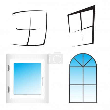 Illustration for Plastic window. Vector Illustration. Clip-art - Royalty Free Image