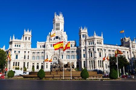 Photo pour Cibeles fontaine et palacio de comunicaciones, madrid, Espagne - image libre de droit
