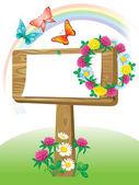 Summer wooden notice board