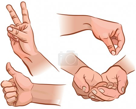 Illustration for Set of hand gestures from different angles. EPS 8. - Royalty Free Image