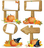 Wooden signs of various forms of the day of Thanksgiving and HarvestContains transparent object EPS 10