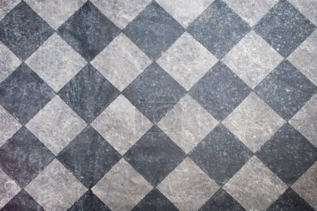 Photo for Tiled floor in black and gray background - Royalty Free Image