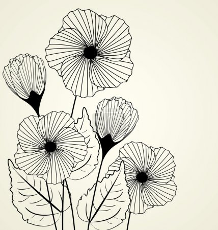 Illustration for Silhouette of garden flowers in the background - Royalty Free Image
