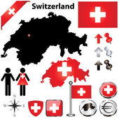 Vector set of Switzerland country shape with flags wind rose and icons isolated on white background