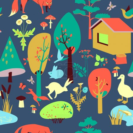 Eco-house in the forest and its inhabitants. Seamless pattern