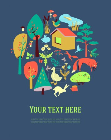 Eco-house in the forest and its inhabitants. The poster, card or banner