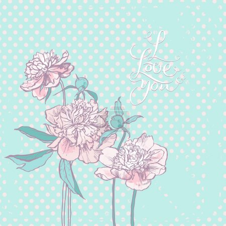 Illustration for Abstract romantic vector background with three peony - Royalty Free Image