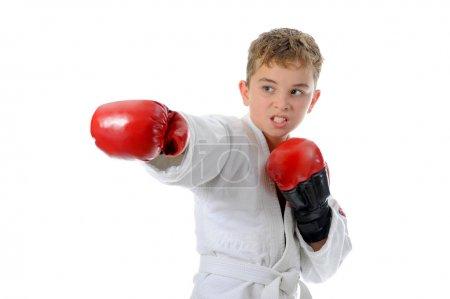 Photo pour Karaté de formation de jeune garçon. isolé sur fond blanc - image libre de droit