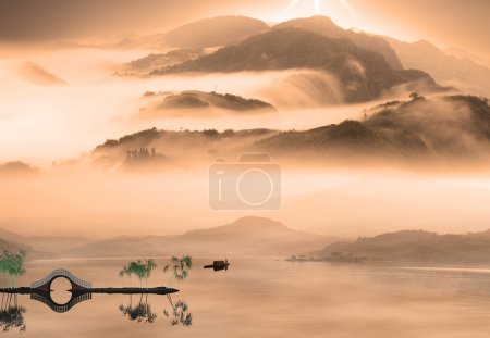 Chinese landscape painting - sunset of Fisherman