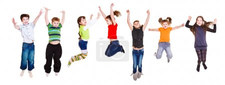 Photo for Group of jumping children, over white - Royalty Free Image
