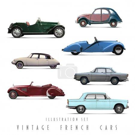 Illustration Set Vintage French cars