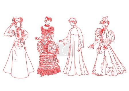femmes dans des costumes européens