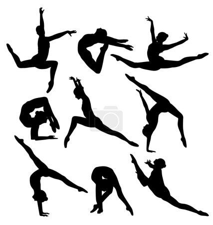 Illustration pour Décrit neuf femmes gymnastes sur fond blanc - image libre de droit