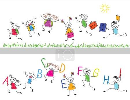 Illustration pour Retour à l'école. Joyeux enfants courent dans l'école. - image libre de droit