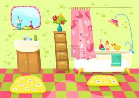 Illustration for Vector illustration of a bathroom - Royalty Free Image