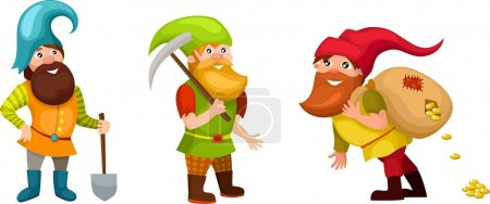 Vector illustration of a cute dwarf set...