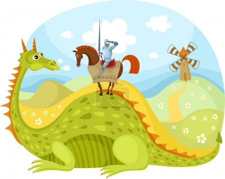 Illustration for Vector illustration of a dragon and knight - Royalty Free Image