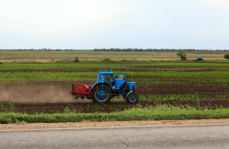 Blue tractor on a field