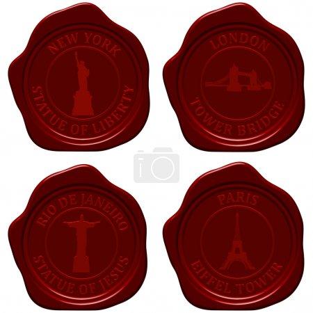 Illustration for Landmark sealing wax stamp set for design use. Vector illustration. - Royalty Free Image