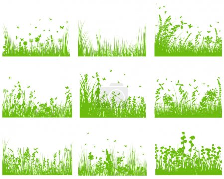 Illustration for Vector grass silhouette background set. All objects are separated. - Royalty Free Image