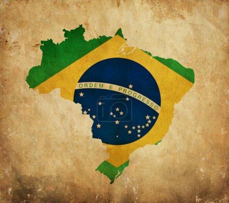 Vintage map of Brazil on grunge paper