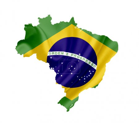 Map of Brazil with waving flag isolated on white