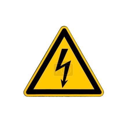 Photo pour Risque électrique panneau haute tension isolé sur blanc - image libre de droit