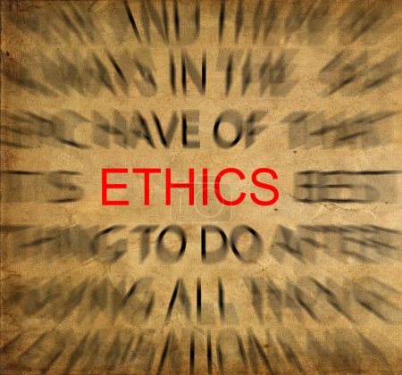 Photo for Blured text on vintage paper with focus on ETHICS - Royalty Free Image