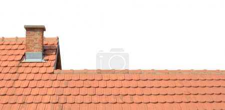 Roof with tiles and chimney isolated on white background