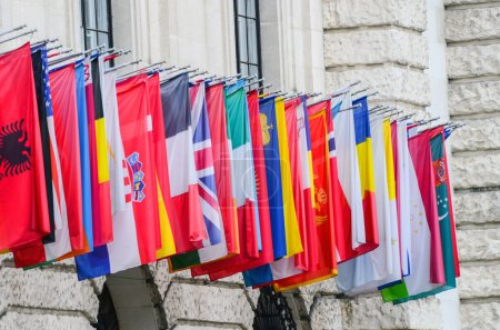 International flags in a row