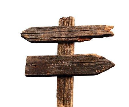 Photo pour Vieux panneau de route flèches en bois isolé sur blanc - image libre de droit