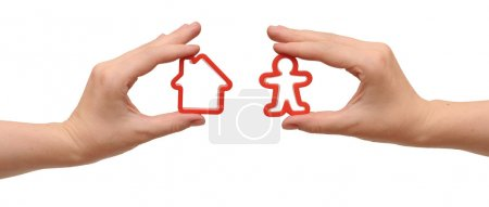 Photo for In hands model home and man - Royalty Free Image