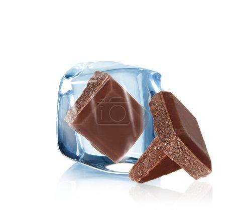 Stock Photo: Ice chocolate over white background
