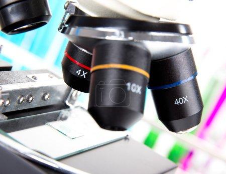Modern microscope in a lab