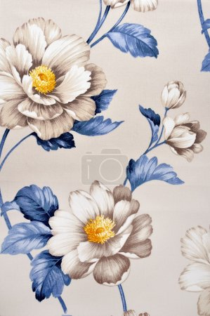 Photo for High resolution floral pattern on canvas texture - Royalty Free Image