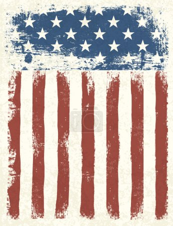Illustration for Grunge American flag background. Vector illustration, EPS 10. - Royalty Free Image