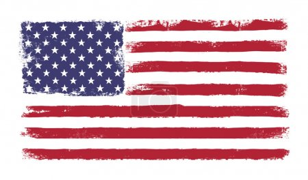 Stars and stripes. Grunge version of American flag with 50 stars
