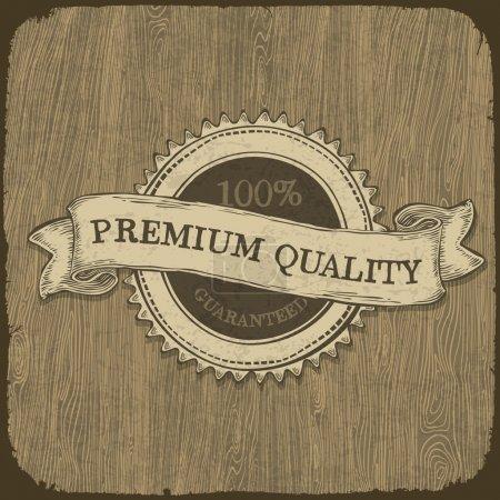 Photo pour Étiquette vintage avec un texte de qualité prime sur la texture en bois. vecteur, eps10 - image libre de droit
