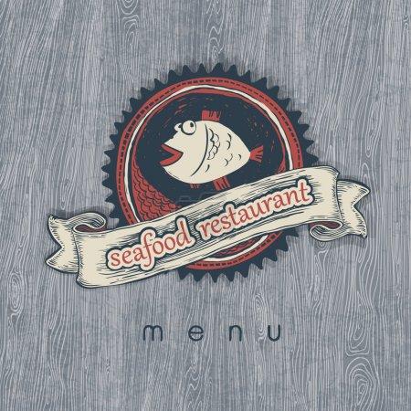 Seafood restaurant menu. Vectior, EPS10.