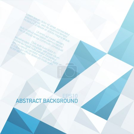 Illustration for Abstract geometrical background with blue triangles and space for your message. Vector, EPS10 - Royalty Free Image