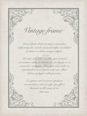 Illustration for Vintage frame template. Vector, EPS10 - Royalty Free Image