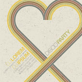 Vintage disco party invitation with heart shaped lines Abstract flyer design vector EPS10