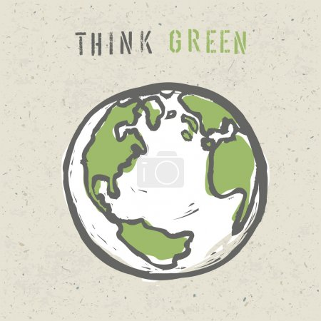 Illustration for Think green poster design template. Vector, EPS10 - Royalty Free Image